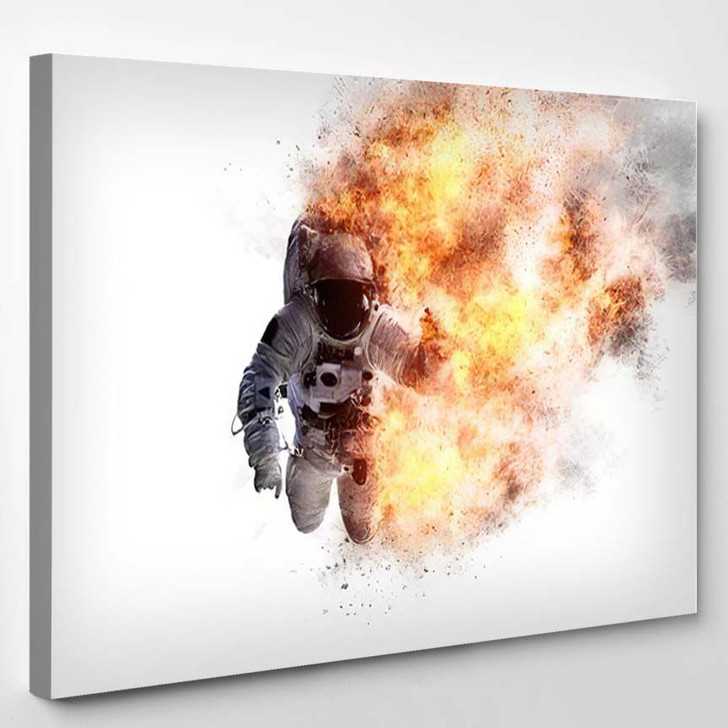 Abstract Apocalyptic Background Burning Astronaut Elements - Astronaut Canvas Art Print