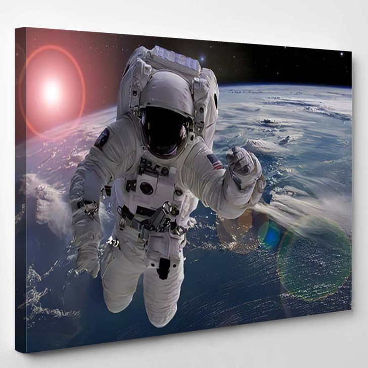 Astronaut Flying Outer Space Near Planet - Astronaut Canvas Art Print