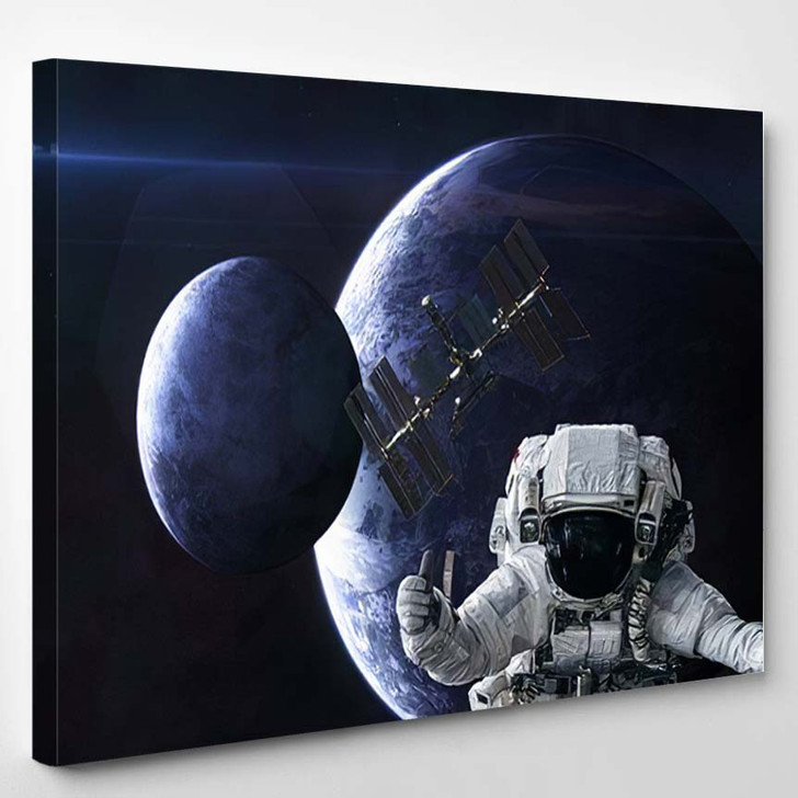 Astronaut Space Station On Background Planets 1 - Astronaut Canvas Art Print