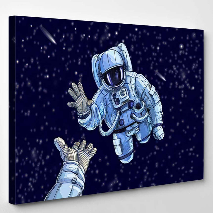 Astronaut Space Suite Stretching Other Open - Astronaut Canvas Art Print