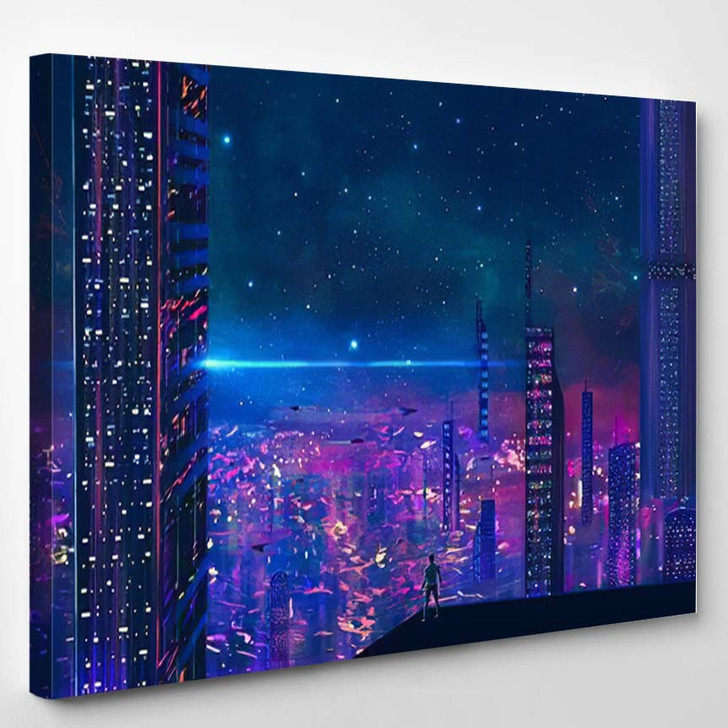 Man Standing On Roof Look Abstract - Astronaut Canvas Art Print