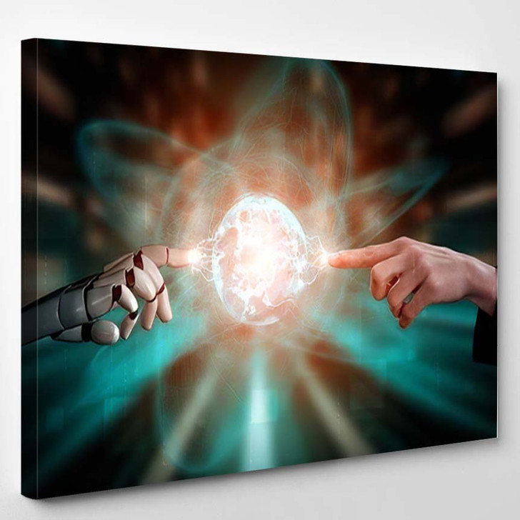 3D Rendering Artificial Intelligence Ai Research 11 - Creation of Adam Canvas Art Print