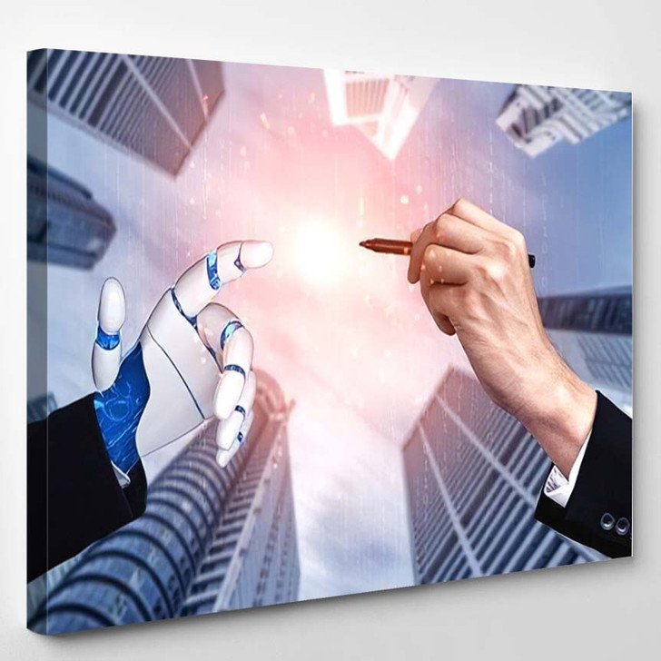 3D Rendering Artificial Intelligence Ai Research 29 - Creation of Adam Canvas Art Print