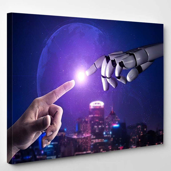 3D Rendering Artificial Intelligence Ai Research 44 - Creation of Adam Canvas Art Print