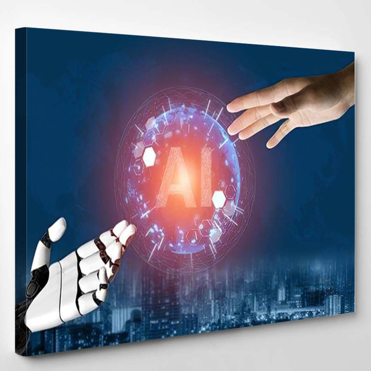 3D Rendering Futuristic Robot Technology Development 2 - Creation of Adam Canvas Art Print