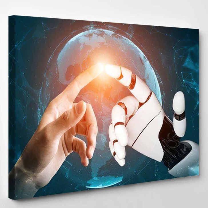 3D Rendering Futuristic Robot Technology Development 9 - Creation of Adam Canvas Art Print