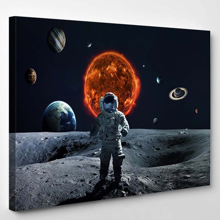 Solar System Space Objects Elements This 3 - Astronaut Canvas Art Print