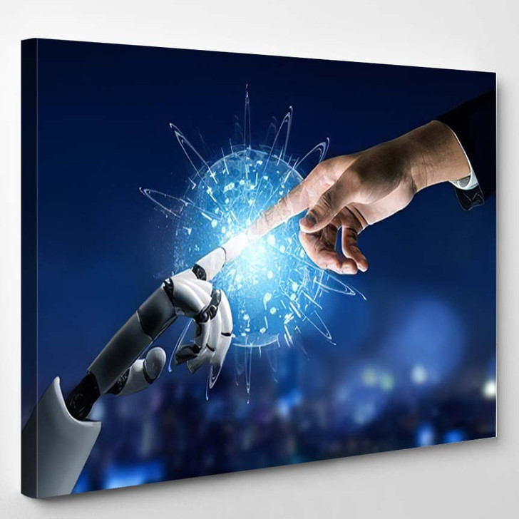 3D Rendering Futuristic Robot Technology Development 24 - Creation of Adam Canvas Art Print