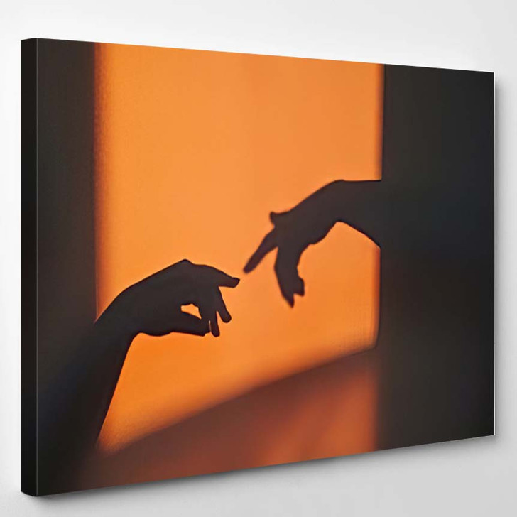Abstract Shadow Silhouette Gesture Touch By - Creation of Adam Canvas Art Print