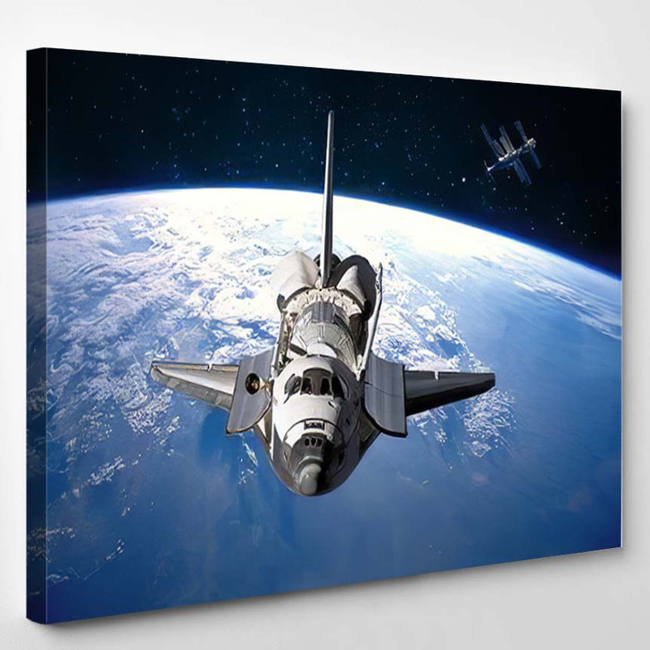 Space Shuttle Orbiting Earth Elements This - Astronaut Canvas Art Print