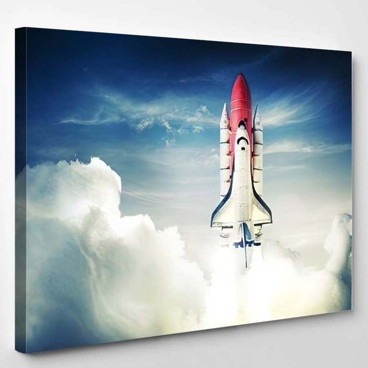 Space Shuttle Taking Off On Mission 9 - Astronaut Canvas Art Print
