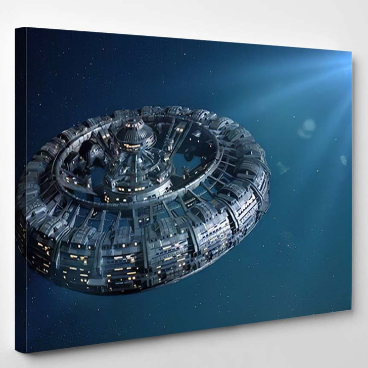 Space Station Lit By Bright Star - Astronaut Canvas Art Print