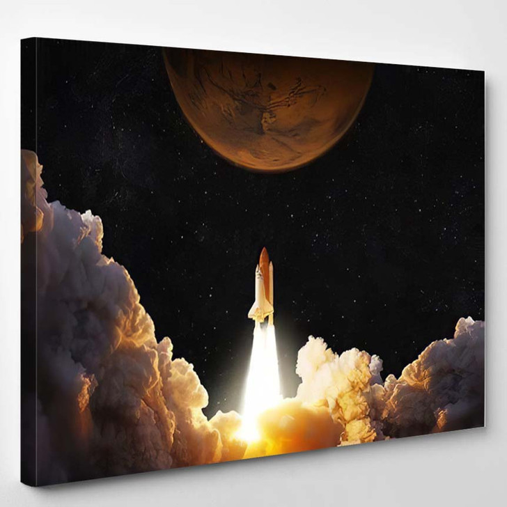 Spacecraft Takes Off Into Space Rocket 4 - Astronaut Canvas Art Print