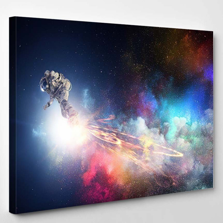 Spaceman On Flying Board Mixed Media - Astronaut Canvas Art Print