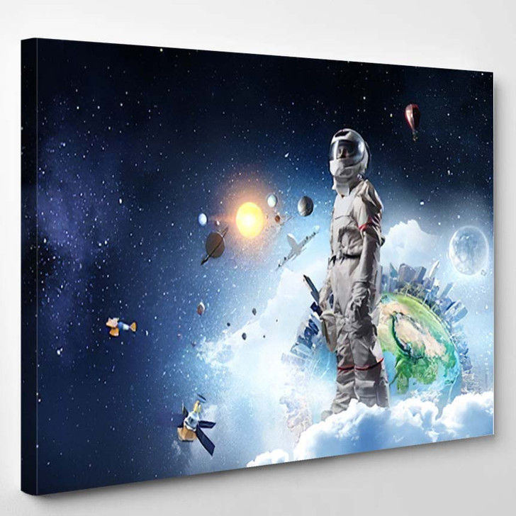 Spaceman Planet Earth Abstract Theme 6 - Astronaut Canvas Art Print