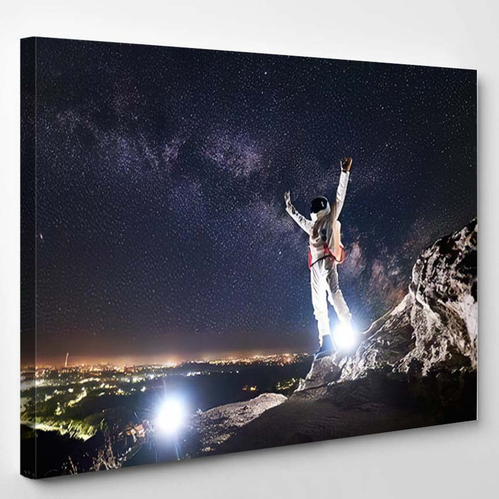 Spaceman Raising Arms While Standing On - Astronaut Canvas Art Print