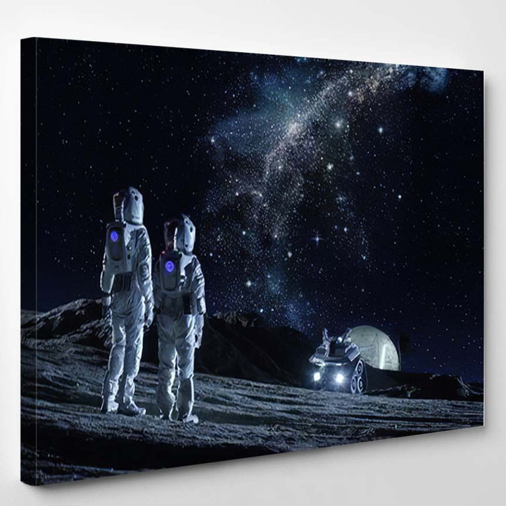 Two Astronauts Space Suits Stand On 3 - Astronaut Canvas Art Print