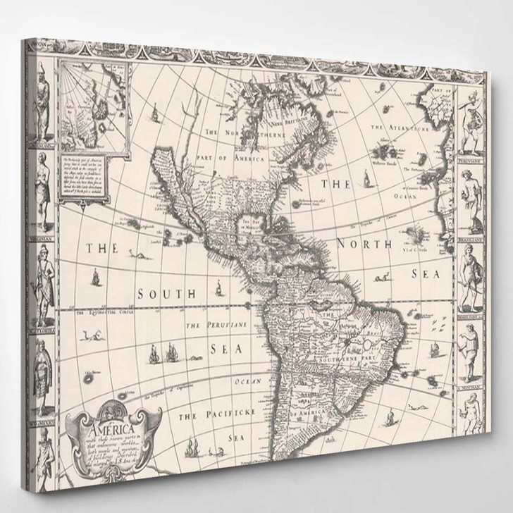 1626 Antique Map North South America - Canvas Art Print