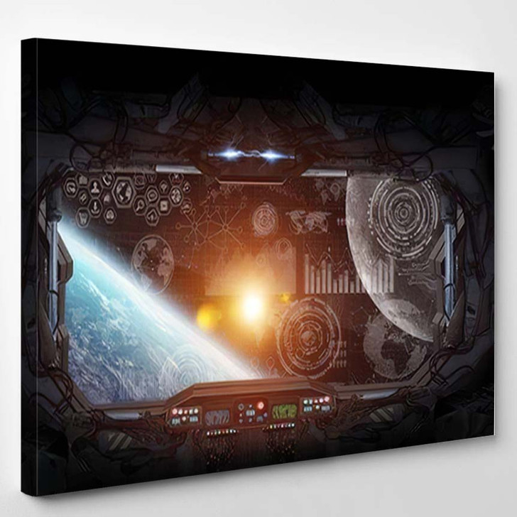 Window View Planet Earth Space Station - Astronaut Canvas Art Print