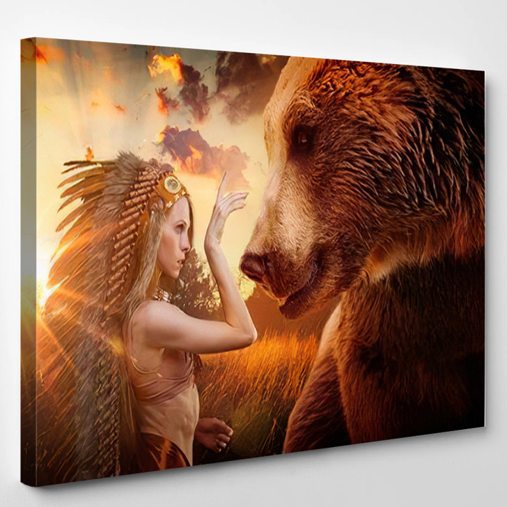 American Indian Plume Feathers Next Brown - Bear Animals Canvas Art Print