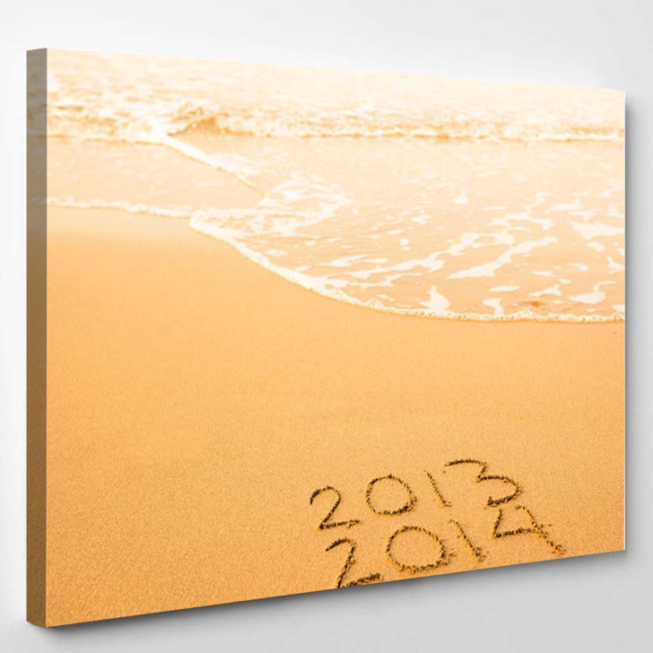 2013 2014 Written Sand On Beach - Canvas Art Print