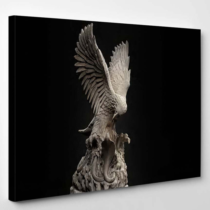3D Composite Illustration Eagle Fighting Snake - Eagle Animals Canvas Art Print