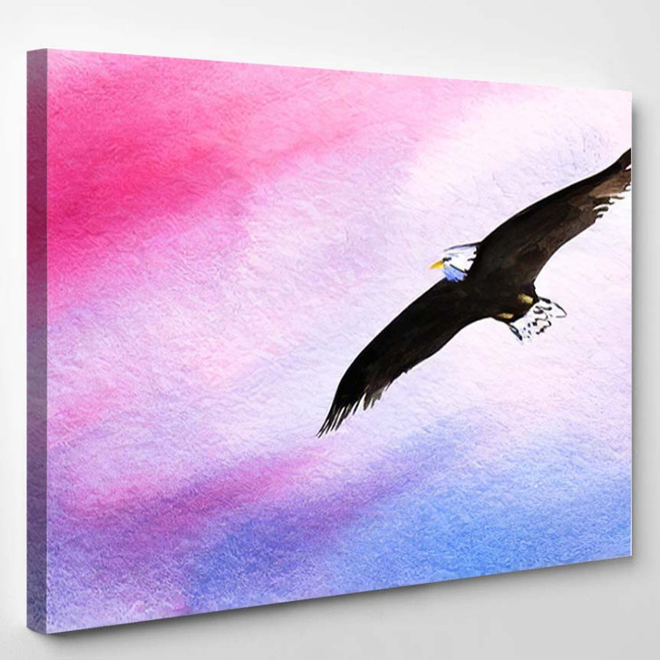 Abstract Watercolor Background Eagle Soars Sunset - Eagle Animals Canvas Art Print