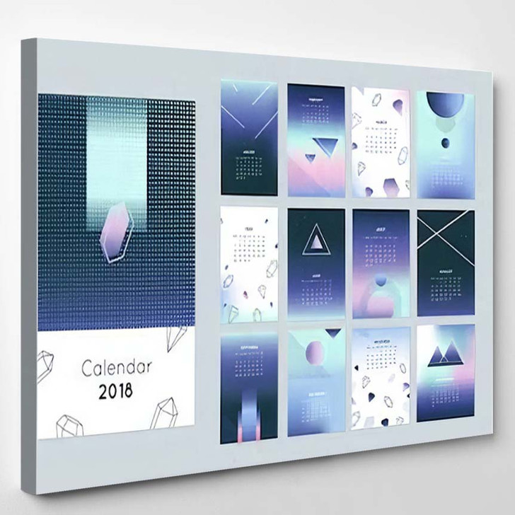2018 Calendar Concept Vector Design Print - Galaxy Sky and Space Canvas Art Print
