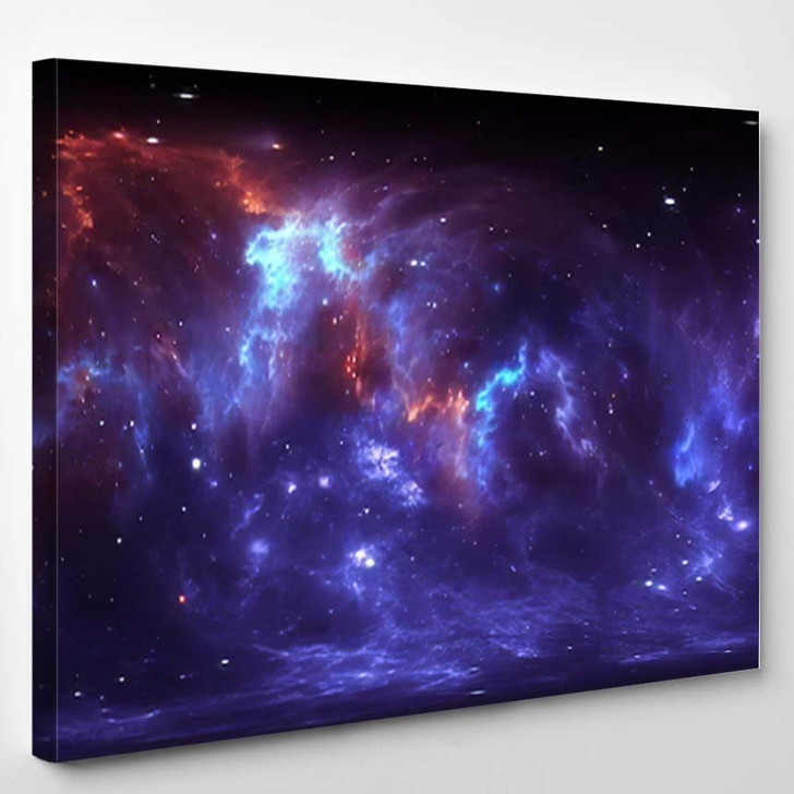 360 Degree Space Nebula Panorama Equirectangular 2 - Galaxy Sky and Space Canvas Art Print