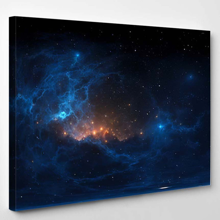 360 Degree Stellar System Nebula Panorama - Galaxy Sky and Space Canvas Art Print
