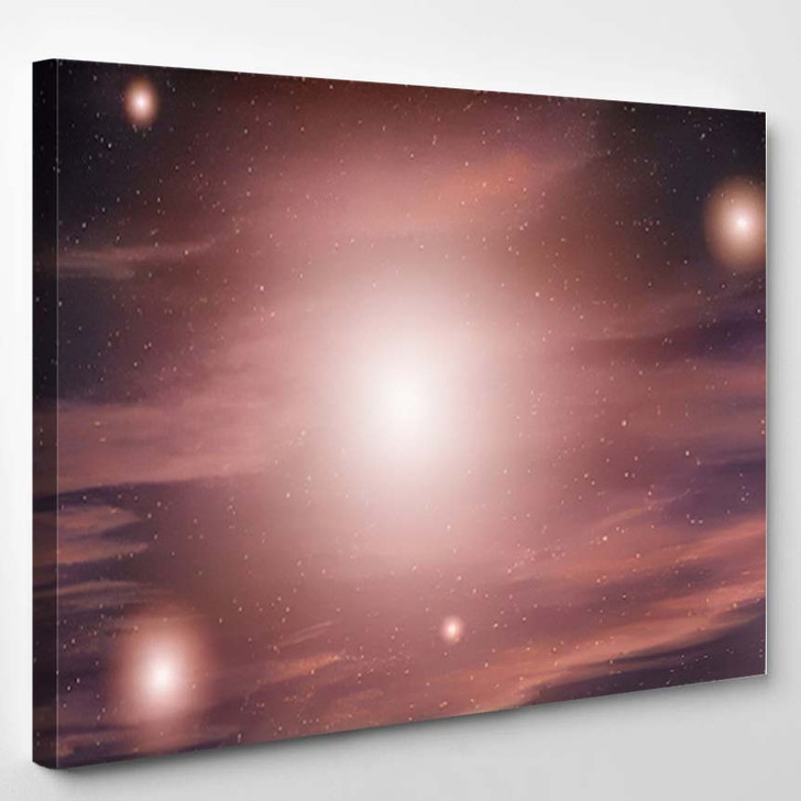3D Illustration Planets Galaxy Science Fiction - Galaxy Sky and Space Canvas Art Print