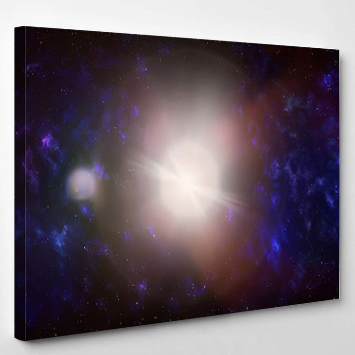 3D Illustration Planets Galaxy Science Fiction 4 - Galaxy Sky and Space Canvas Art Print