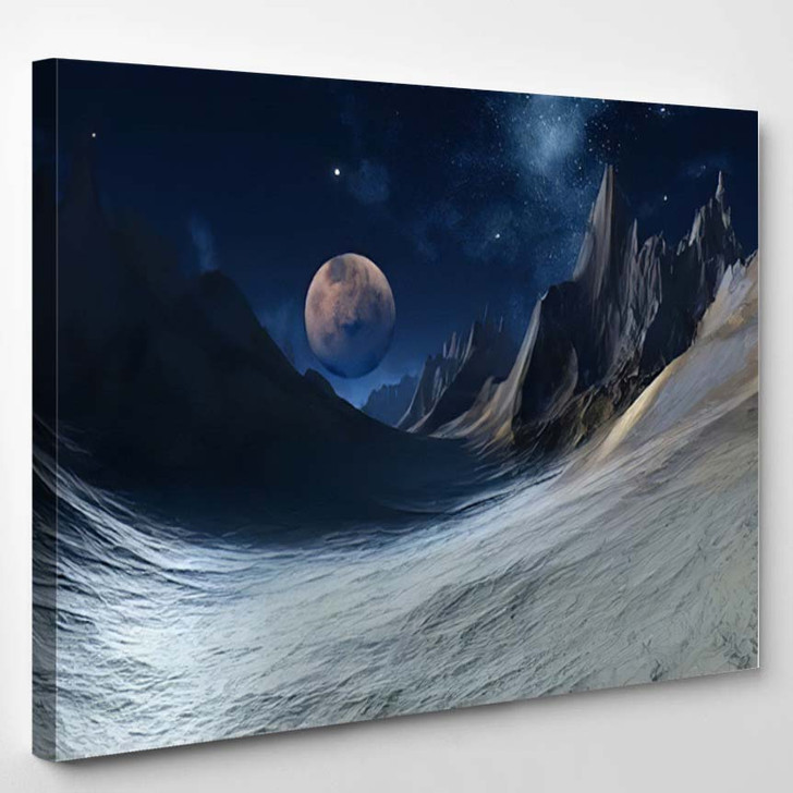 3D Rendered Fantasy Alien Landscape Illustration 1 - Galaxy Sky and Space Canvas Art Print