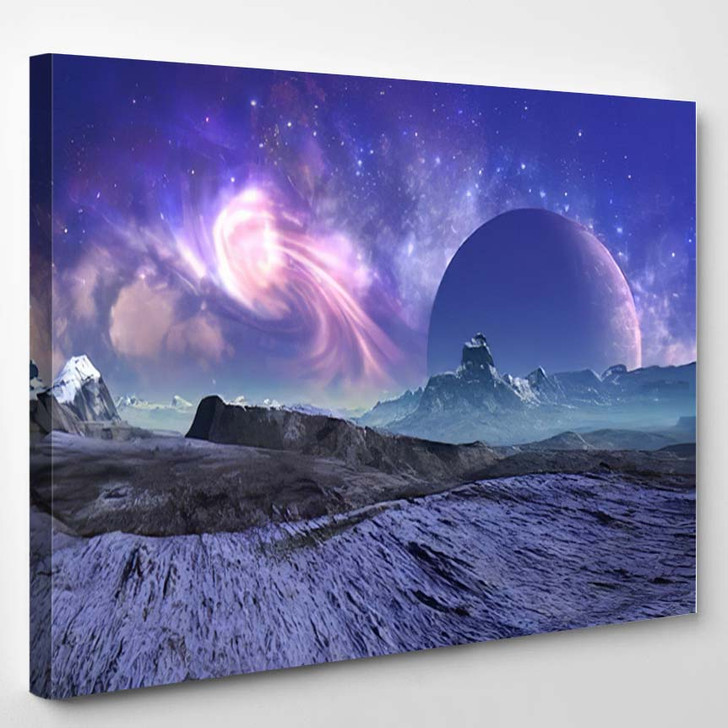 3D Rendered Fantasy Alien Landscape Illustration 1  1 - Galaxy Sky and Space Canvas Art Print