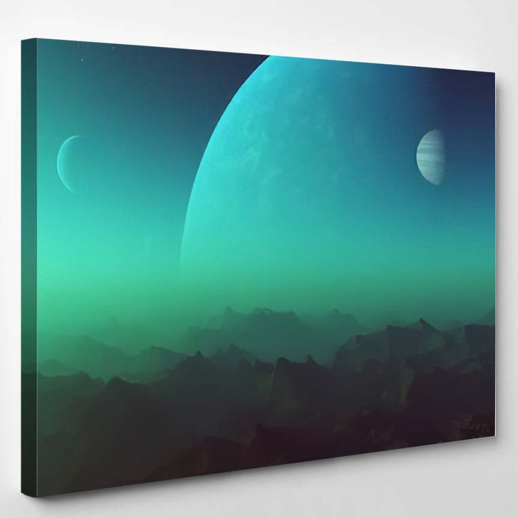 3D Rendered Space Art Alien Planet - Galaxy Sky and Space Canvas Art Print