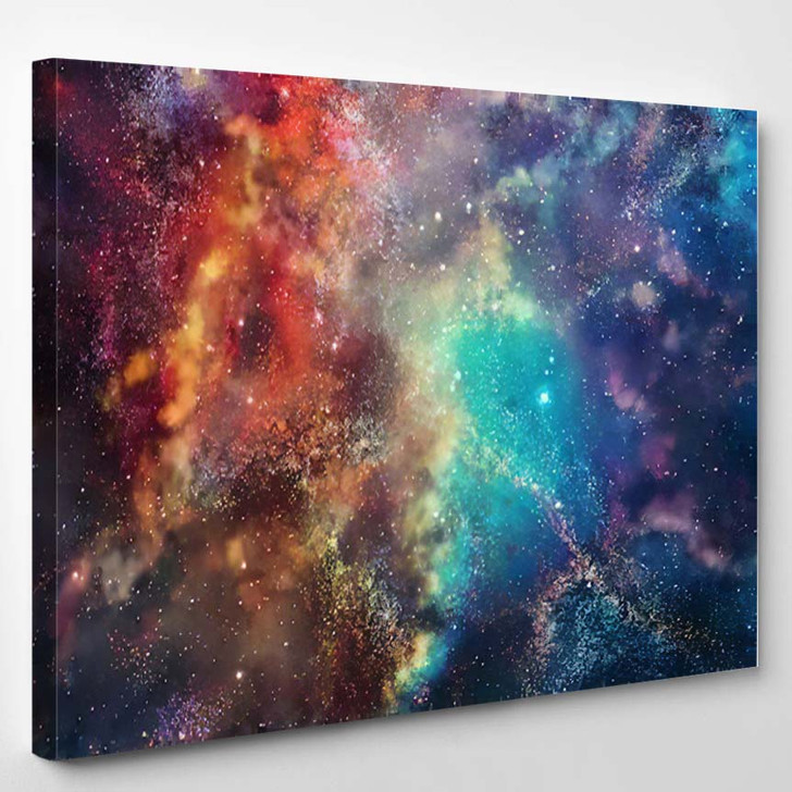 3D Rendering Galaxy Space Beauty Universe 3 - Galaxy Sky and Space Canvas Art Print