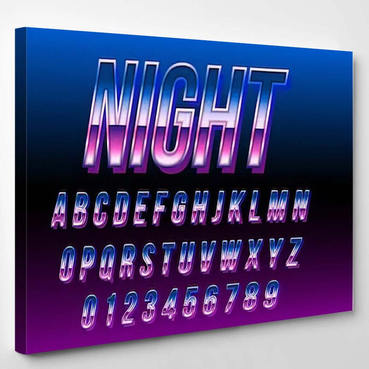 80S Retro Futurism Font Blue Metallic - Galaxy Sky and Space Canvas Art Print