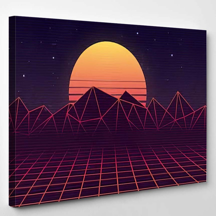 80S Retro Futuristic Background Laser Grid - Galaxy Sky and Space Canvas Art Print