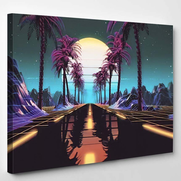 80S Retro Futuristic Scifi Background Retrowave - Galaxy Sky and Space Canvas Art Print
