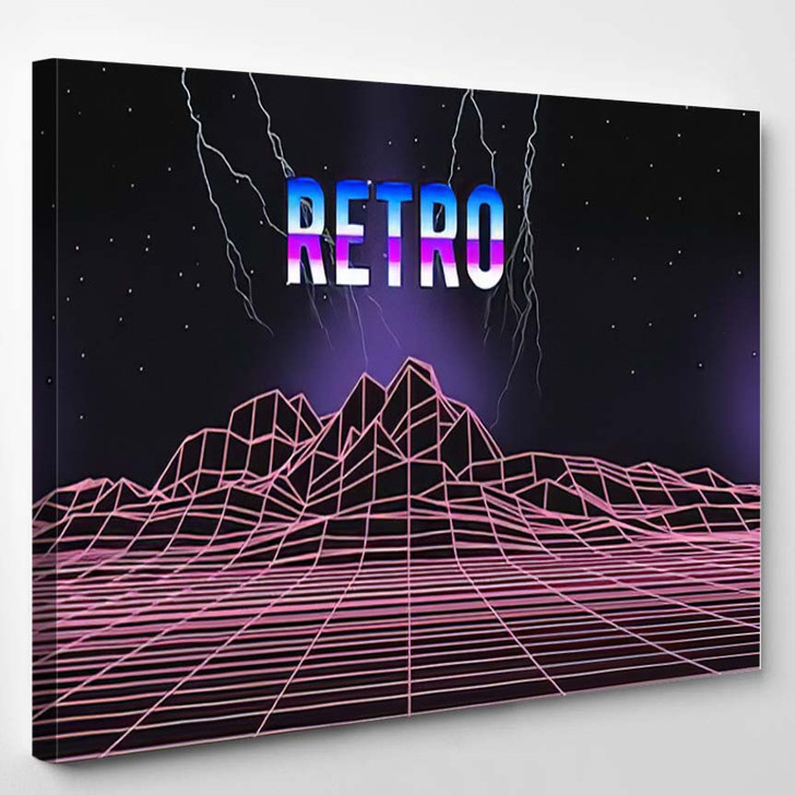 80S Retro Music Cover Neon Light - Galaxy Sky and Space Canvas Art Print
