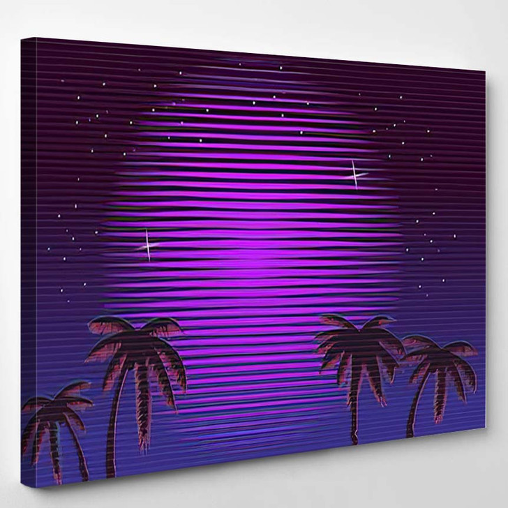 80S Retro Neon Gradient Background Palms - Galaxy Sky and Space Canvas Art Print