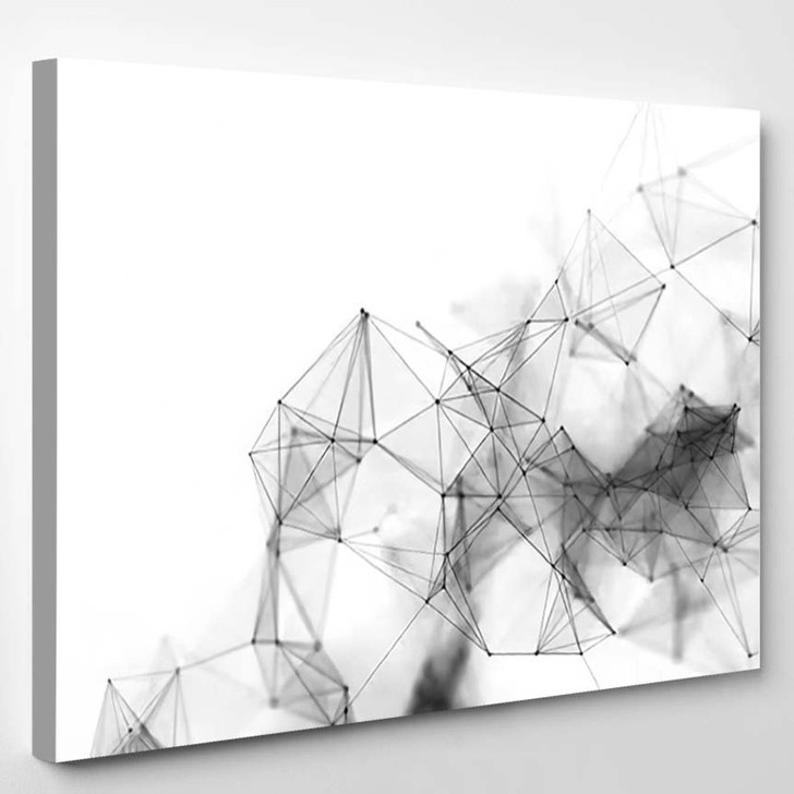 Abstract 3D Rendering Futuristic Dots Lines - Galaxy Sky and Space Canvas Art Print