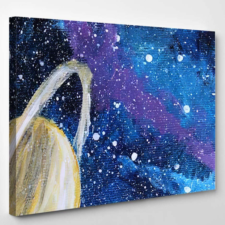 Abstract Acrylic Painting Colored Space Galaxy 1 - Galaxy Sky and Space Canvas Art Print