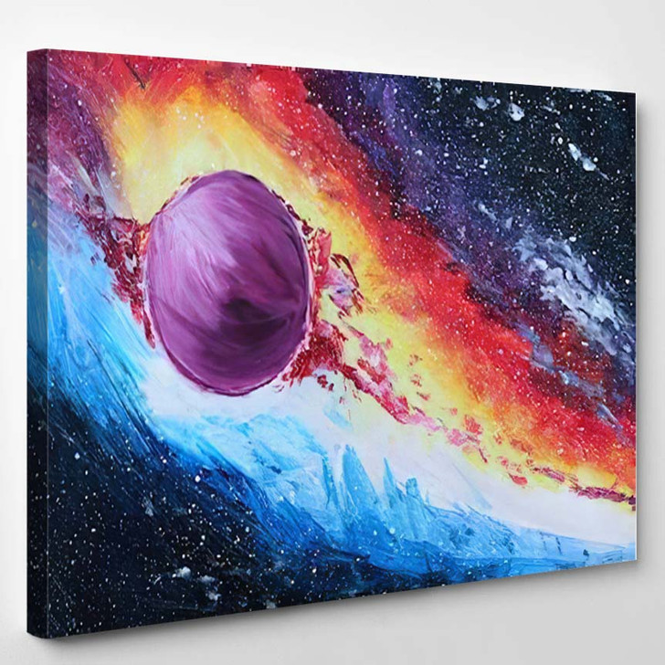 Abstract Acrylic Painting Colored Space Galaxy 2 - Galaxy Sky and Space Canvas Art Print
