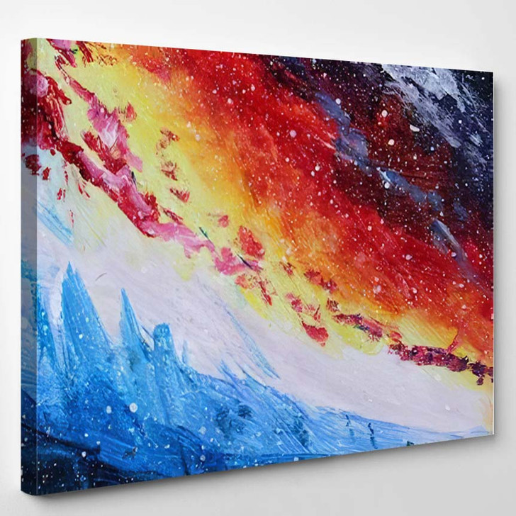 Abstract Acrylic Painting Colored Space Galaxy 3 - Galaxy Sky and Space Canvas Art Print