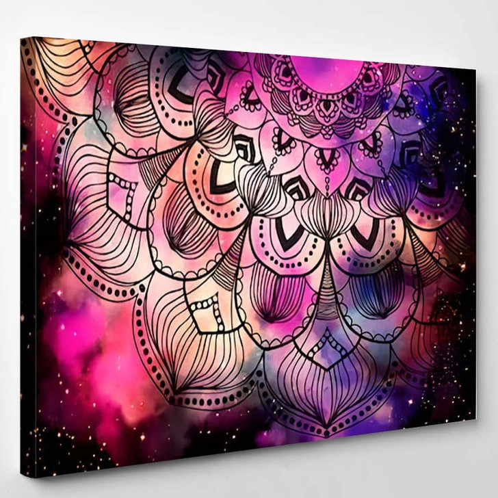 Abstract Ancient Geometric Star Field Colorful 2 - Galaxy Sky and Space Canvas Art Print