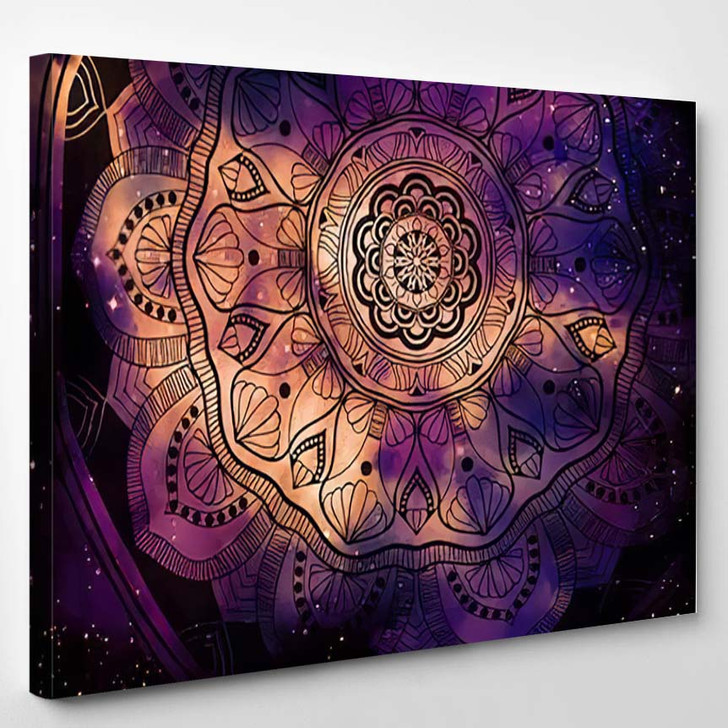 Abstract Ancient Geometric Star Field Colorful 1 1 - Galaxy Sky and Space Canvas Art Print