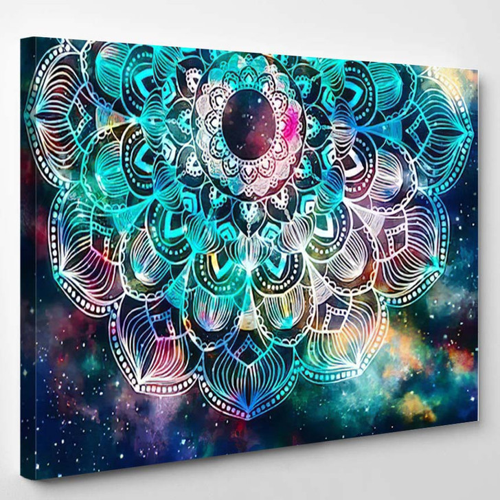 Abstract Ancient Geometric Star Field Colorful 2  1 - Galaxy Sky and Space Canvas Art Print