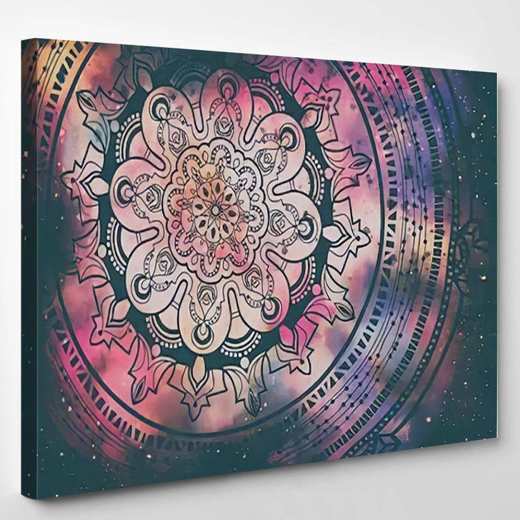Abstract Ancient Geometric Star Field Colorful 3 - Galaxy Sky and Space Canvas Art Print