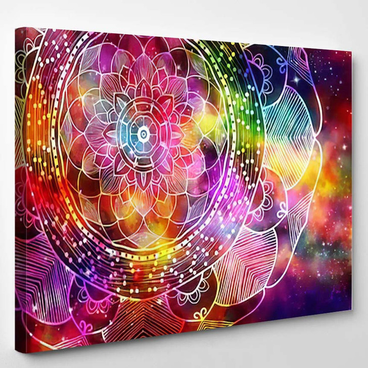 Abstract Ancient Geometric Star Field Colorful 4 - Galaxy Sky and Space Canvas Art Print